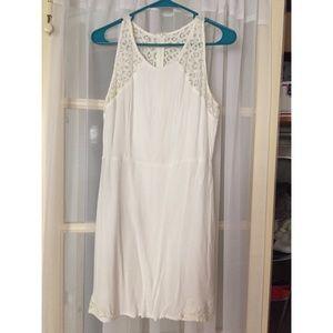 White lace accent dress